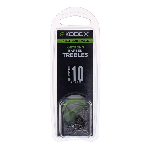 KODEX X-Strong Pike Treble Hooks: Barbed - Size 10 (10pc pkt)