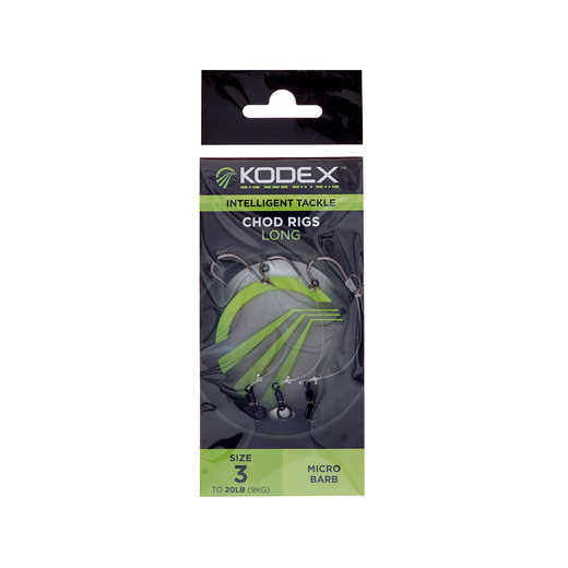 KODEX Chod Rigs: Long - Size 3 to 20lb (3pc pkt)