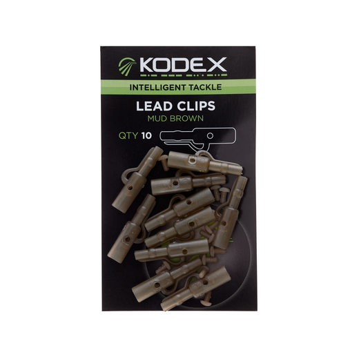 KODEX Lead Clips: Mud Brown (10pc pkt)