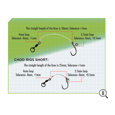 KODEX Chod Rigs: Short - Size 3 to 20lb (3pc pkt)